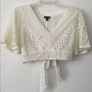 White lace crop